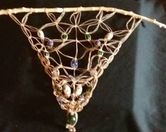 Macrame beaded wall/ window hanging / mobile suncatcher