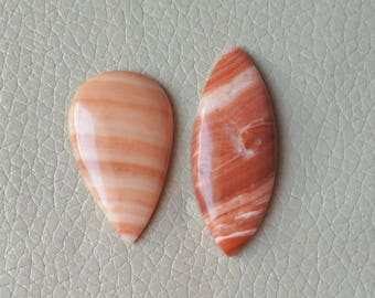 Red Agate 2 Piece 56 Carat Cabochon, Genuine Red Agate Size 35x22x6, 43x18x7 MM Approx, Jewellery Making Pendant Stone, Polished Red Agate.