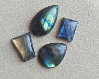 AAA Quality 4 Pieces Natural Labradorite Oval Gemstones 100 Carat Weight, Size 31x19x10, 26x21x8, 22x17x9, 18x14x9, 21x18x7 MM Approx.