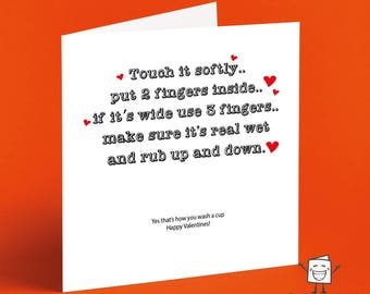 Rude Joke Valentines Day Card - Cheeky - Crude - Naughty - Teasing - Dirty - Fingering - Childish