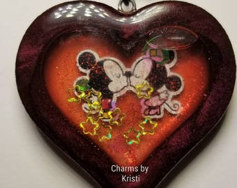 Mickey and Minnie Heat Resin Shaker Charm