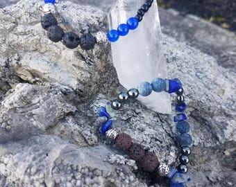 Lapis Lazuli & Lava Bead Bracelet