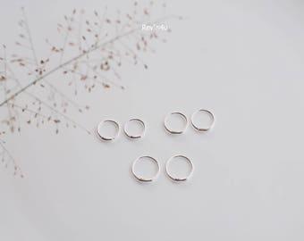 8, 9 or 10 mm - Tiny Hoop earrings, Twist Hoop Earrings, Cartilage Earrings, Helix, Nose stud, 925 sterling silver - 1R/H42-44