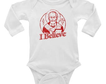 Infant Long Sleeve Bodysuit, St Nicholas I Believe, the original Santa!