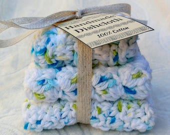 Crochet Cotton Dishcloth gift set of 3, white with blue confetti