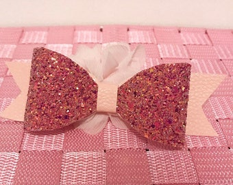 Large Pink Glitter and Leatherette Bow