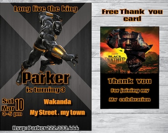 The black panther invitation + free thank you card , The black panther Birthday ,The black panther  party,  printable