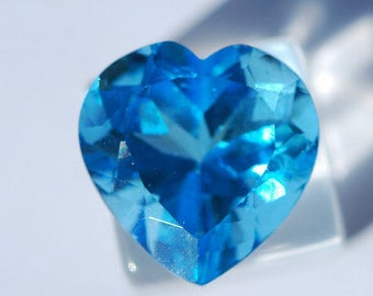 Swiss Blue Topaz, Faceted Heart, 13.3mm x 13.5mm, Excellent Cut and Polish, 9.35 ct, F00041