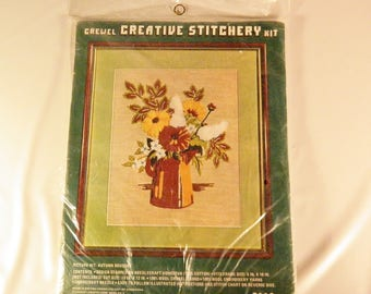 Vintage Crewel Embroidery Kit - Autumn Bouquet- Creative Stitchery Kit- 1970s
