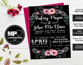 Black Wedding Invitation, Wedding Invite,Photoshop Editable,Printable Invitation,Templett, Customization Free,Green Leaves,Watercolor Flower