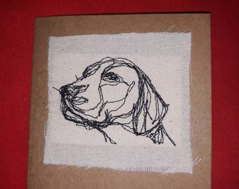 Hound embroidered card