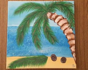 Acrylic, Holiday, Lonely Island, palm tree
