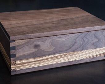 Black Walnut & Zebrano Stash Box with Rolling Tray Lid