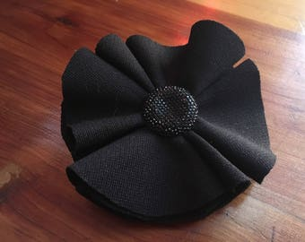 Black flower with jewel hair clip
