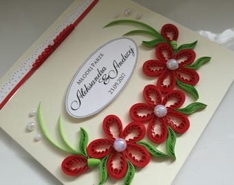 Occasional handmade card for wedding, anniversary, birthday, quilling filigree, floral, 3d, scrapbooking to customise