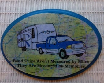 "RV travel wall plaque with saying ""Road trips aren't measured by miles - They are measured by memories."""