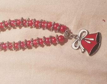 New kids 6mm Pearls Beads stretch bracelet with anger christmas bells