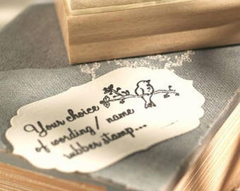 Custom Text Rubber Stamp with Bird Design
