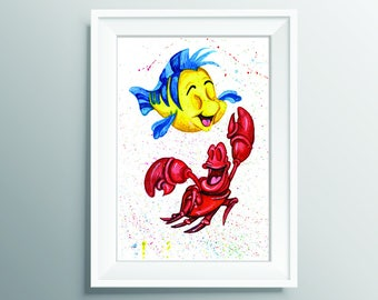 Flounder and Sebastian, Disney Little Mermaid Watercolour Painting, Print