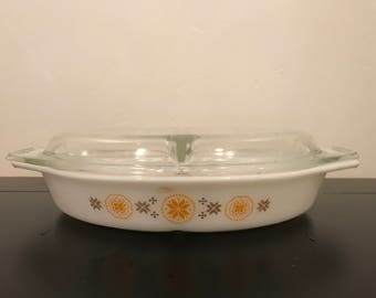 Vintage Pyrex Town and Country Divided Dish with Lid