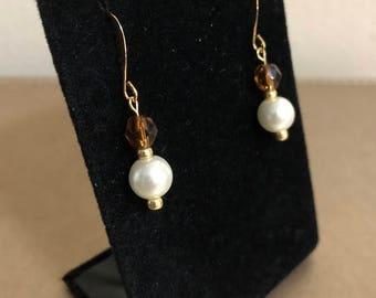 Pearl and Amber Earrings