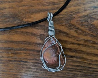 Unique Handmade Leather Stainless Steel  Agate Necklace