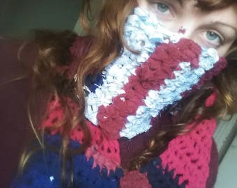 recycled red/blue scarf