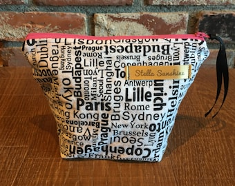 world traveler handmade flannel makeup bag, cosmetic pouch, toiletry bag
