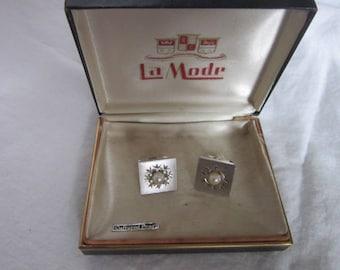 Retro Designer La Mode Sterling Silver and Cultured Pearl Cuff Links