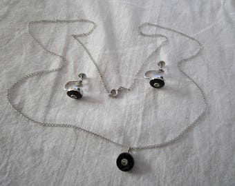 Van Dell Sterling Silver Black Onyx & Rhinestone Necklace and Earring Set
