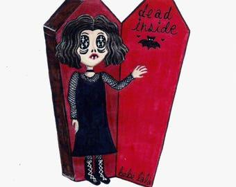 Printed drawing Dead inside - Dead inside print 139mm X 216 mm