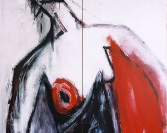 Erotika Series, 1997, Diptech, Oil on Canvass, 1.8 m x 3.0 m