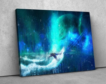 Wall art canvas // Space Surfer // Modern wall decor