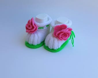 Handmade Beautiful Baby Booties with Pink Rose