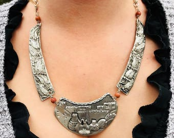 Pueblo design with floral accent necklace