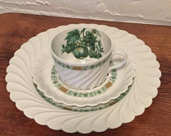 Haviland Limoges Calais Green and Gold Cup, Saucer, and Plate