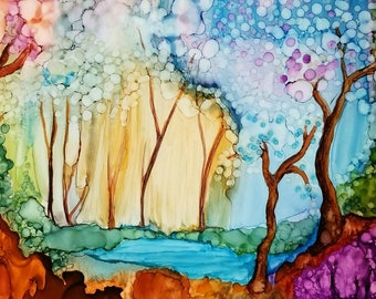 Enchanted Forest Alcohol Ink Print