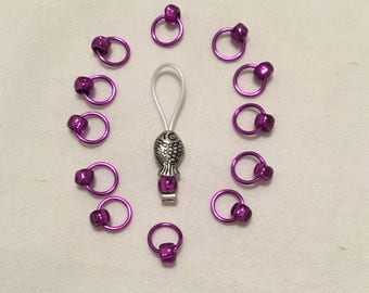 Purple Snag Free Stitch Markers w/ Fish