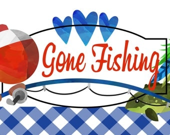 """Gone Fishing Welcome Sign 12"""" x 6"""" High Quality Printed on Lightweight Metal Sign"""