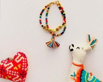Kindred Coast Kids Rainbow Personalized Tassel Bracelet
