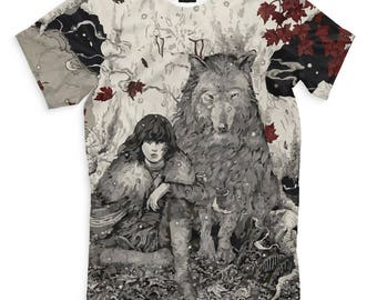 Game of Thrones Bran Stark and Direwolf Art Full Print T-Shirt All Sizes XS-6XL