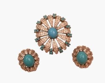 Vintage Panetta Turquoise Rhinestone Brooch & Earring Jewelry Set