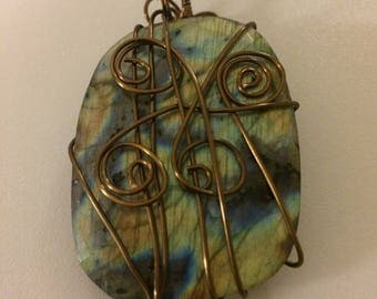 Labradorite Semi-Precious Stone Antique Brass Wire-Wrapped Pendant – #4