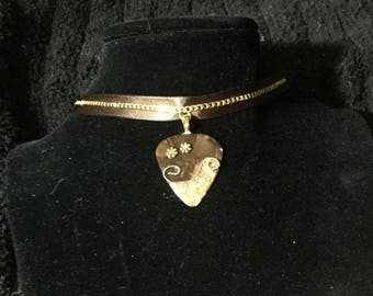 Brown and gold guitar pick choker