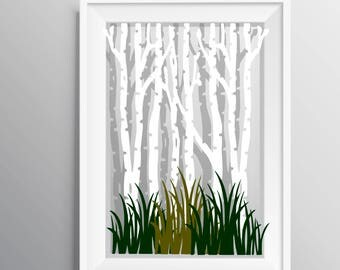 Winter Birch Tree Forest and grass SVG and PNG download design for cricut or silhouette or any use