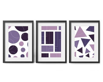Set of 3 Printable Wall Art, Modern, Abstract, Lavender, White, Pink, Purple, 8x10, Hall Decor, Living Room, Calming, Mindfulness