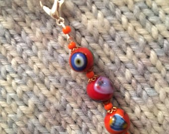 Knitting Crochet Progress Keeper Unique Luxury Single Glass Murano Style Beaded Stitch Marker