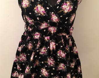Reclaimed vintage 70s 80s black dress with pink & white FLORAL BOUQUET print
