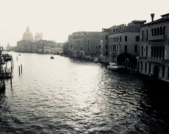 Venice Canal, Italy Photography, Black and White Print, Wall Decor, Photography Print