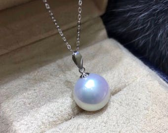 12-13mm High Luster Natural White Edison Baroque Pearl w/18K Solid White Gold Pendant Necklace, Single Edison Drop Pearl Pendant Necklace
